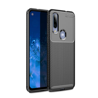 AMZER Rugged Armor Carbon Fiber Design ShockProof TPU for Motorola MOTO P40 Power - Black
