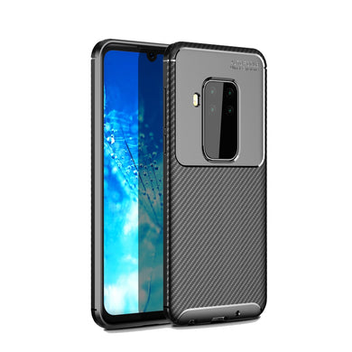 AMZER Rugged Armor Carbon Fiber Design ShockProof TPU for Motorola MOTO P40 Note - Black