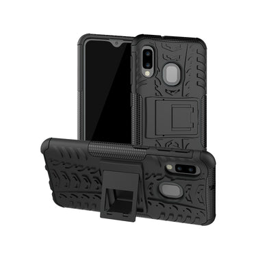 AMZER Hybrid Warrior Kickstand Case for Samsung Galaxy A20e - Black/Black