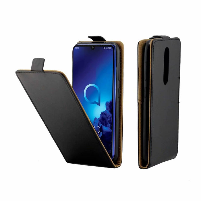 AMZER Vertical Flip Leather Wallet Case for Alcatel 3 (2019) - Black