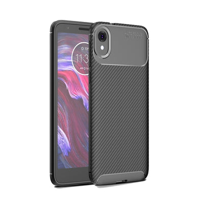 AMZER Rugged Armor Carbon Fiber Design ShockProof TPU for Motorola Moto E6 - Black