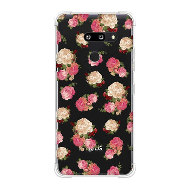 AMZER Soft Gel Clear TPU Case for LG G8 ThinQ - Bunch of Roses - Pink Honey