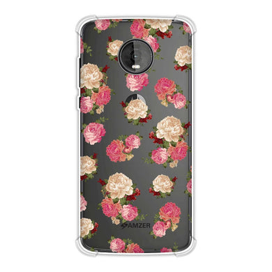 AMZER Soft Gel Clear TPU Case for Motorola Moto Z4 - Bunch of Roses - Pink Honey