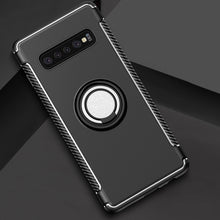 Load image into Gallery viewer, AMZER Shockproof Hybrid TPU+PC Magnetic Car Case with 360 Degree Rotating Ring for Samsung Galaxy S10 - Black