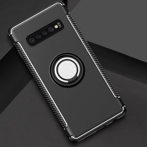 AMZER Shockproof Hybrid TPU+PC Magnetic Car Case with 360 Degree Rotating Ring for Samsung Galaxy S10 - Black