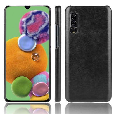 AMZER Shockproof Leather Texture PC + PU Protective Case for Samsung Galaxy A90 5G - Black - fommystore