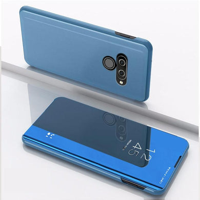 AMZER Plating Mirror Left/ Right Flip Cover with Bracket Holster for LG Q60 - Blue - fommystore