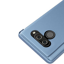 Load image into Gallery viewer, AMZER Plating Mirror Left/ Right Flip Cover with Bracket Holster for LG Q60 - Blue - fommystore