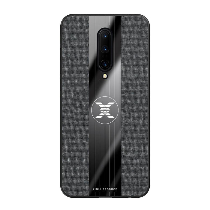 Premium Shockproof TPU Protective Case with Stitching Cloth Textue for OnePlus 7 Pro - Black - fommystore