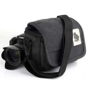 Universal Canvas DSLR Camera Shoulder Bag/ Photographer Handbag - Black - fommystore