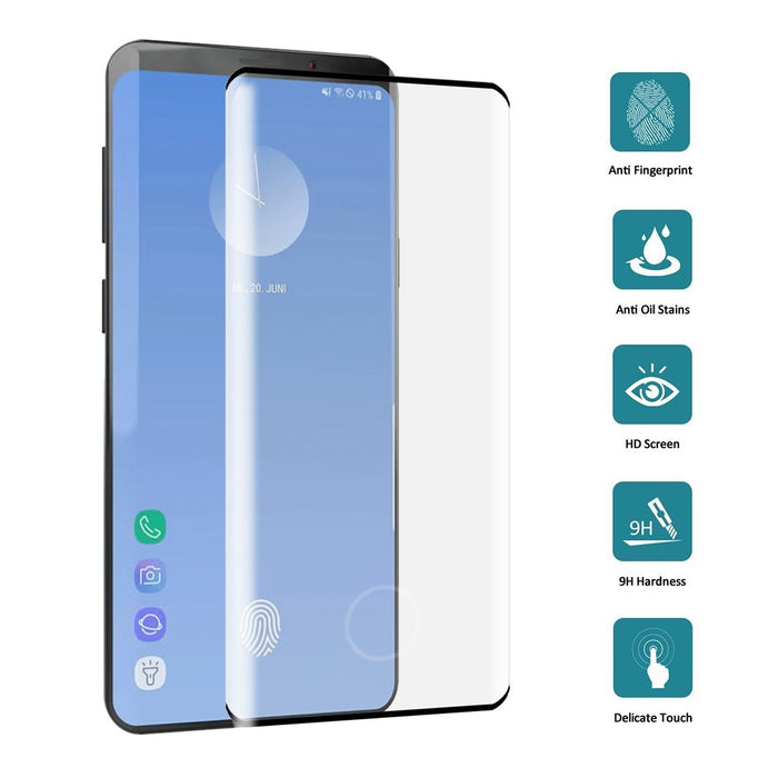 AMZER 9H Edge2Edge 3D Tempered Glass Screen Protector with Screen Fingerprint Unlocking Support for Samsung Galaxy S10 - Black - fommystore