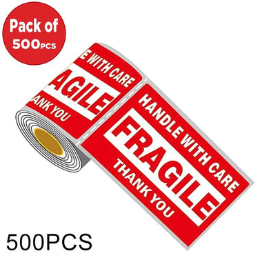 AMZER Outer Box English Warning Fragile Label Self-adhesive Sticker - 500 Pcs - fommystore