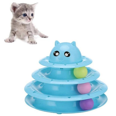 AMZER Cat Three-layer Round Turntable With Ball/ Amusement Claws Scratch Board Pet Toy - Blue