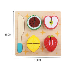AMZER Children Wooden Cutting Fruits and Vegetables Kitchen Pretend Game/ Educational Toys