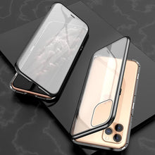 Load image into Gallery viewer, Ultra Slim Dual Side Magnetic Adsorption Angular Frame Tempered Glass Magnet Flip Case for Apple iPhone 11 Pro Max