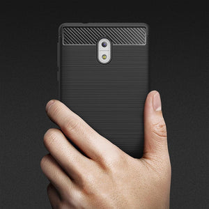 AMZER Rugged Shockproof TPU Case With Carbon Fiber Design for Nokia 3 - Black