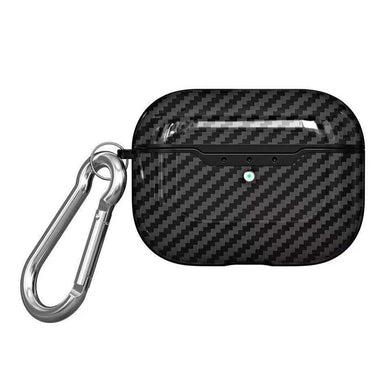 Shockproof Carbon Fiber Texture TPU Protective Case with Hook for Apple AirPods Pro