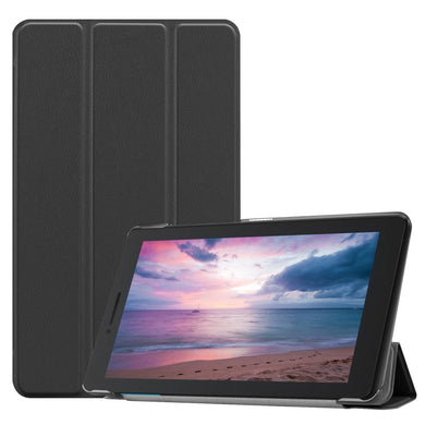 AMZER Texture Horizontal Deformation Flip Leather Case With 3-Fold Holder for Lenovo Tab E8 TB-8304F - Black
