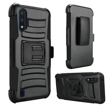 AMZER Hybrid Kickstand Case With Holster for Samsung Galaxy A01 - Black/Black