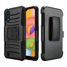 Load image into Gallery viewer, AMZER Hybrid Kickstand Case With Holster for Samsung Galaxy A01 - Black/Black