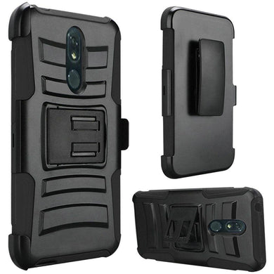 AMZER Hybrid Kickstand Case With Holster for LG Stylo 5 - Black/Black