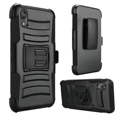 AMZER Hybrid Kickstand Case With Holster for Motorola Moto E6 - Black/Black