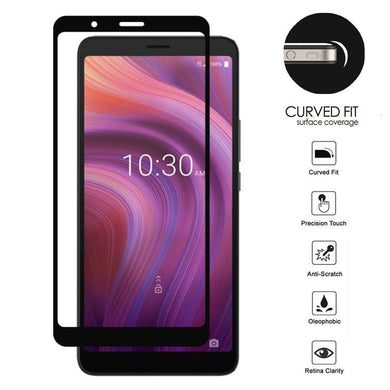 AMZER Kristal 9H Tempered Glass Edge2Edge Protector for Alcatel 3V (2019) - Black