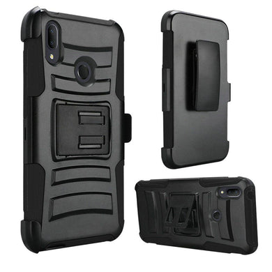 AMZER Hybrid Kickstand Case With Holster for Alcatel 3V (2019) - Black/Black