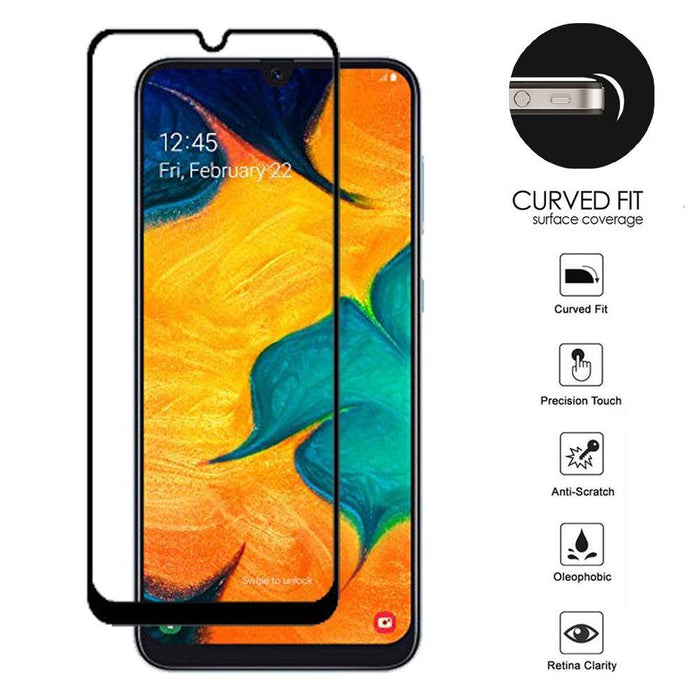 AMZER Kristal 9H Tempered Glass Edge2Edge Protector for Samsung Galaxy A20 - Black