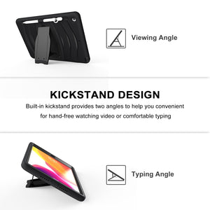 AMZER® Hybrid 360 Degree Rotation Kickstand Case With Pen Slot & Hand Strap - Black/ Black for Samsung Galaxy Tab S6 T860/ T865