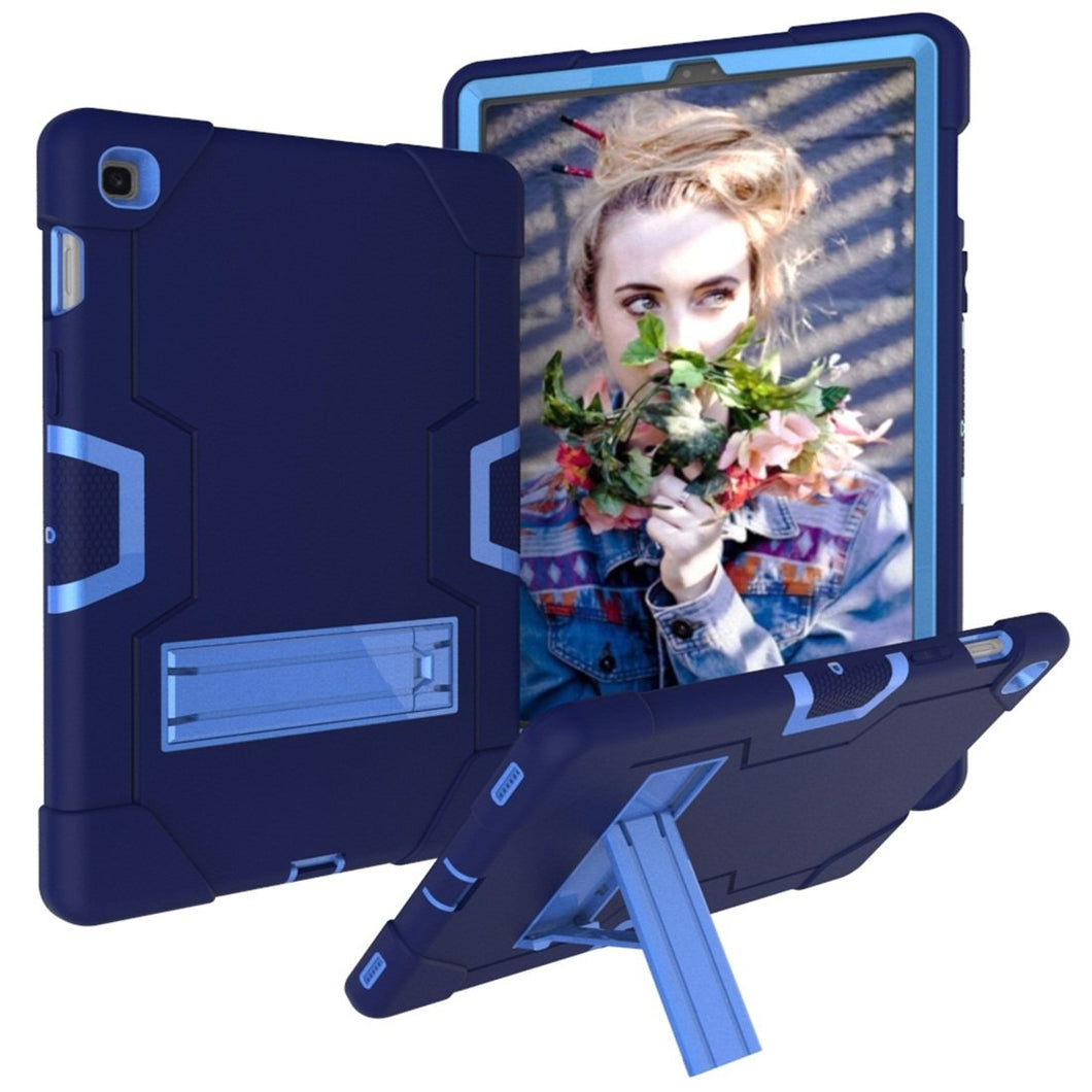 AMZER Rugged Shockproof Armor Dual Layer Hybrid Case for Samsung Galaxy Tab S5e T720 - Navy Blue /Blue