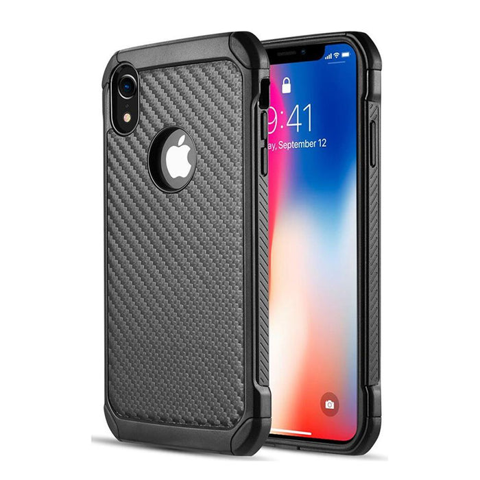 AMZER Hybrid Carbon Case with Carbon Fibre Design And Reinforced Hard Bumper - Black for Apple iPhone XR