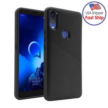 Load image into Gallery viewer, AMZER Hybrid Carbon Case with Carbon Fibre Design And Reinforced Hard Bumper - Black for Alcatel 3V (2019)