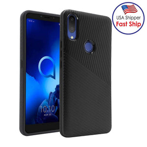 AMZER Hybrid Carbon Case with Carbon Fibre Design And Reinforced Hard Bumper - Black for Alcatel 3V (2019)