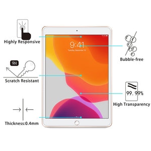 AMZER 2 pack 0.26mm 9H Straight Edge Tempered Glass Screen Protector for Apple iPad 10.2 - Clear