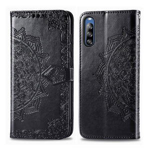 AMZER Mandala Embossing Pattern Flip Wallet Case with Card Slots & Holder For Sony Xperia L4 - Black