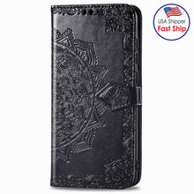 Load image into Gallery viewer, AMZER Mandala Embossing Pattern Flip Wallet Case with Card Slots & Holder For Sony Xperia L4 - Black