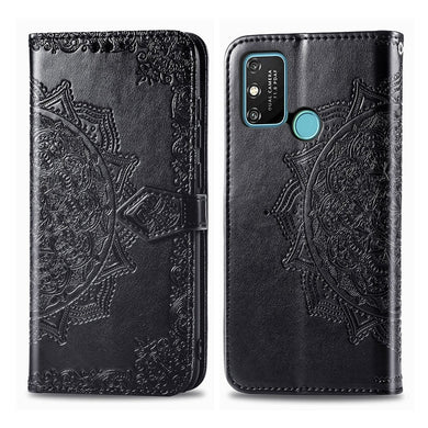 Amzer Mandala Embossing Pattern Flip Wallet Case with Card Slots & Holder For Huawei Honor Play 9A - Black