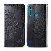 Load image into Gallery viewer, Amzer Mandala Embossing Pattern Flip Wallet Case with Card Slots & Holder For Motorola Moto G8 Power Lite - Black