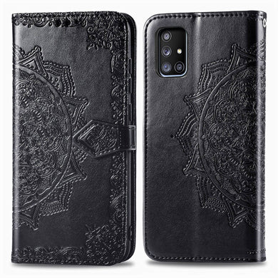 Amzer Mandala Embossing Pattern Flip Wallet Case with Card Slots & Holder For Samsung Galaxy A71 5G - Black