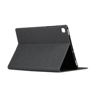AMZER Voltage Craft Cloth Horizontal Flip Leather Case with Holder for Samsung Galaxy Tab S6 Lite P610 - Black