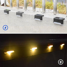 Load image into Gallery viewer, 12 PCS Solar Powered LED Outdoor Stairway Light IP65 Waterproof Garden Lamp, Warm White Light - Black