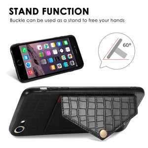 Premium Crocodile Pattern PU+TPU+PVC Envelope Card Package Phone Case With Magnet And Bracket Function for iPhone 7/8 - Black