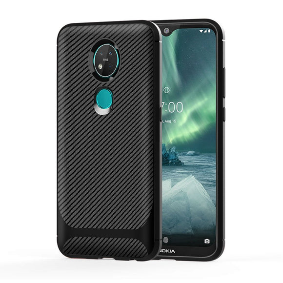 AMZER Carbon Fiber Texture TPU Case for Nokia 7.2/6.2 - Black
