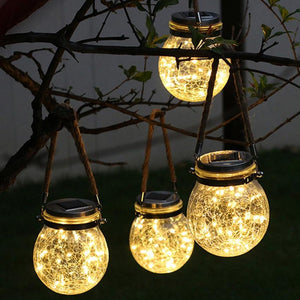 20 LED Automatic Solar Energy Glass Bottle Pendent Lamp IP55 Waterproof Outdoor Garden Decoration Light - Warm White