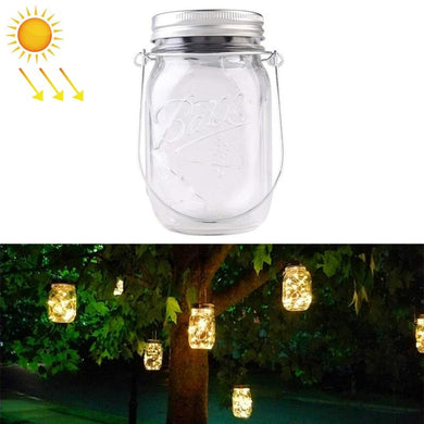 20 LEDs Solar Energy Mason Jar Pendent Lamp Outdoor Decoration Garden Light - Warm White