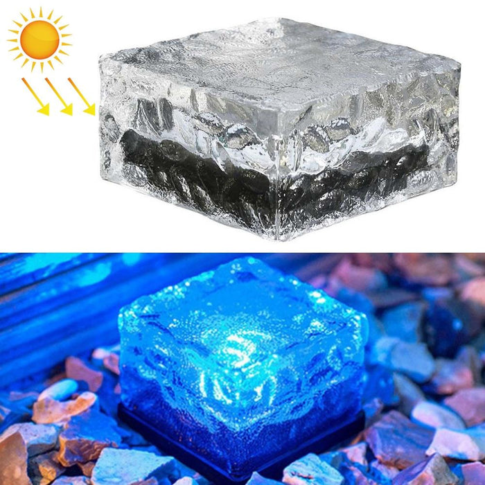 Solar Powered Square Tempered Glass Outdoor LED Buried Light Garden Decoration Lamp IP55 Waterproof - Blue Light