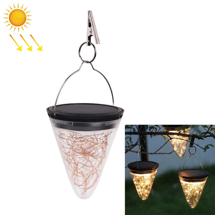 Solar Energy Conical Starlight Pendent Lamp IP55 waterproof Outdoor Garden Decoration Light - Warm White