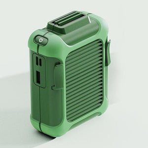 Multifunctional Waist-Mounted Portable Fan Rechargeable Emergency Charger - Green