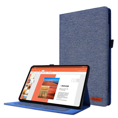 Fabric Texture Horizontal Flip Leather Case with Name Card Clip For Huawei Matepad Pro 10.4 - Dark Blue